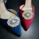 Fashion Oval Rhinestone Gold Or Silver Shoes Decoration Wedding Shoe Clips