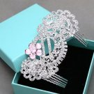 Light Pink Rhinestone Wedding Headpiece Bridal Hair Comb Crystal Accessories