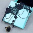 Black Flower Vintage Lace Droplet Drop Slave Ring Wedding Party Bracelet