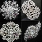 4 Mix Assorted Vintage Style Rhinestone Crystal Wedding Brooch Pin Jewelry