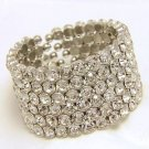 6 Rows Thick Rhinestone Crystal Wedding Rows Cuff Bangle Waist Bracelet Jewelry