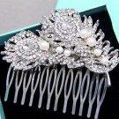Feather Leaf Rhinestone Crystal Silver Ivory Pearl Wedding Bridal Hair Comb