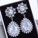 Vintage Silver Bridesmaids Teardrop Rhinestone Crystal Earrings Wedding Jewelry