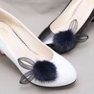 Winter Boots Pom Pom Black Ivory Navy Blue Rabbit Ears Faux Fur Shoe Clips Pair