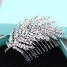 Vintage Leaf Bridal Rhinestone Comb Wedding Hair Clip Crystal Headpiece