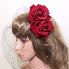 Wedding Bridal Red Rose Flowers Birdcage Net Veil Cover Mask Hair Clip