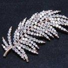 Rose Gold Silver Feather Leaf Wedding Rhinestone Brooch Pin Crystal Jewelry