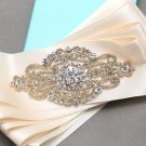 Wedding Bridal Ivory Gold Rhinestone Crystal Brooch Ribbon Dress Sash Belt