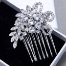 Crystal Headpiece Rhinestone Comb Flower Wedding Hair Clip Head Pieces