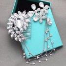 Bridal Headpiece Vintage Butterfly Rhinestone Crystal Wedding Hair Clip Chain