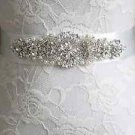 Crystal Rhinestone Applique Wedding Sash Bridal Pearl Black Red Ivory Belt