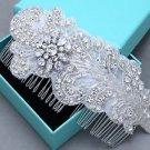 Feather Leaf Rhinestone Applique Crystal Bridal Hair Comb Wedding Headpiece