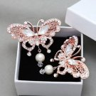 1pc Rose Gold Butterfly Rhinestone Crystal Dangle Pearl Wedding Bridal Hair Clip