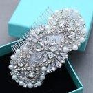 Beaded Pearl Applique Rhinestone Comb Wedding Hair Clip Crystal Headpiece