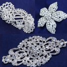 Mix Of 3 Assorted Wedding Bridal Flower Rose Rhinestone Crystal Tiara Hair Combs