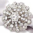 Bridal Crystal Jewelry Wedding Rhinestone Crystal Round Cake Brooch Pin