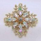 Wedding Bridal Rhinestone Diamante Crystal Gold Brooch Pin Jewelry Accessories