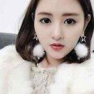 Posh Pom Faux Fur Star Rhinestone Dangling Drop Earrings Crystal Jewelry
