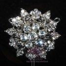 Flower Bouquet Leaf Wedding Crystal Brooch Pin Bridal Rhinestone Jewelry