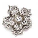 Silver Tone Rhinestone Crystal Rose Flower Bridal Wedding Brooch Pin