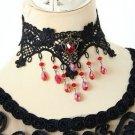 Red Droplets Dangle Flower Gothic Lolita Black Lace Fibre Choker Necklace