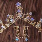 Wedding Crystal Starfish Star Leaf Gold Tiara Hair Crown Earrings Jewelry Set