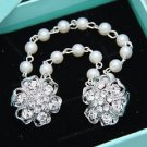 Flower Rhinestone Crystal Tuxedo Shawl Sweater Guard Pearl Chain Scarf Clip