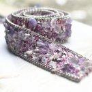 Purple Stone Beaded Crystal Wedding Sash Gold Chain Trim Iron Sew Applique