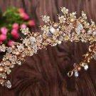 1Wedding Crystal Flower Beads Gold Tiara Headpiece Hair Crown