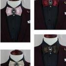 Black Crystal Rhinestone Dangle Wedding Men Pre Tied Bow Tie Neck Tie