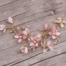 Wedding Bridal Vintage Gold Leaf Pink Flower Pearl Tiara Headpiece Hair Piece