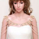 Vintage Style Rhinestone Crystal Pearl Lariat Gold Shoulder Necklace Jewelry