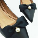 Fashion Dangle Pearl Shoes Wedding Decoration Butterfly Black Bow Shoe Clips
