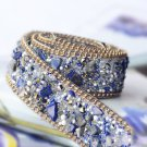 Blue Stone Beaded Crystal Wedding Sash Gold Chain Trim Iron Sew Applique 50cm