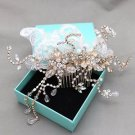Wedding Rhinestone Headpiece Crystal Leaf Lace Gold Hair Comb Bridal Accessories