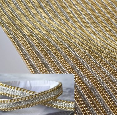 2 pcs x 39 cm Clear Crystal Wedding Sash Gold Chain Trim Applique Sticker