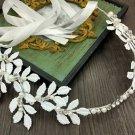 Wedding Bridal Vintage White Leaf Crystal Tiara Pearl Headpiece Hair Piece