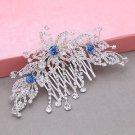 Blue Flower Leaf Rhinestone Crystal Bridal Hair Comb Wedding Headpiece