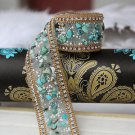 Turquoise Stone Beaded Crystal Wedding Sash Trim Iron Sew Applique 50cm