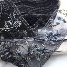 Black Beaded Bridal Wedding Sash Embroidery Lace Fabric Sash Belt Trim 100cm