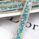 Aqua Stone Beaded Crystal Wedding Sash Gold Chain Trim Iron Sew Applique 2 Meter