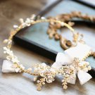 Wedding Bridal Vintage Leaf Crystal Gold Tiara Pearl Bow Headpiece Hair Piece