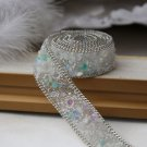 Turquoise Stone Beaded Crystal Wedding Sash Trim Iron Sew Ivory Applique 50cm