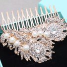 Feather Leaf Rhinestone Crystal Gold Ivory Pearl Wedding Bridal Hair Comb