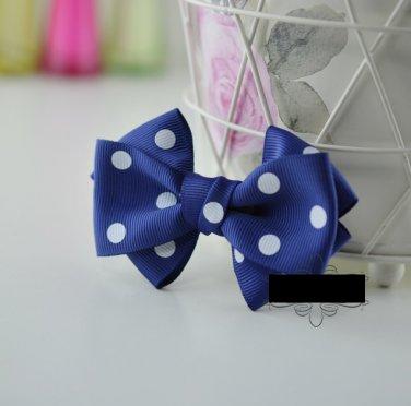A Pair Fashion Women Ladies Blue White Dot Circle Ribbon Bow Shoe Clips