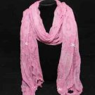 Flower Floral Embroidery Lace Scarf Shawl Wrap w Faux Pearl, Rose Pink