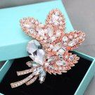 Faux Pearl Rose Gold Leaf Wedding Brooch Bridal Crystal Pin Jewelry