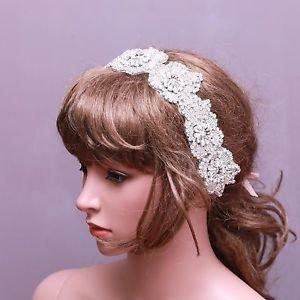 Wedding Bridal Rhinestone Crystal Flower Applique Headband Headpiece