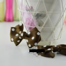 A Pair Fashion Women Ladies Brown White Dot Circle Ribbon Bow Shoe Clips