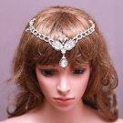 Bridal Headpiece Rhinestone Crystal Swan Dangle Wedding Hair Clip Chain